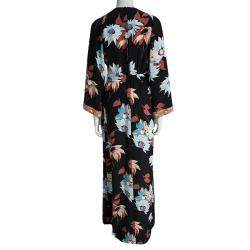 Etro Black Floral Printed Silk Embellished Cuff Detail Maxi Dress S