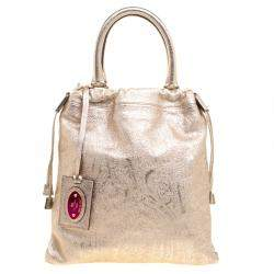 Etro Metallic Gold Paisley Embossed Leather Tote