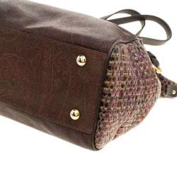 Etro Brown Paisley Printed Coated Canvas Satchel