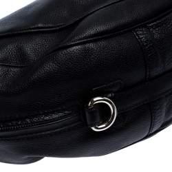 Etro Black Leather Half Moon Shoulder Bag