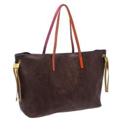 Etro Brown Paisley Printed Coated Canvas and Leather Tote