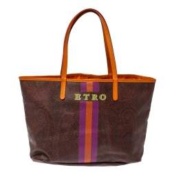 Etro Brown/Orange Paisley Coated Canvas Small Shopper Tote