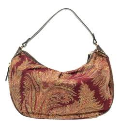Etro Multicolor Paisley Canvas and Velvet Zip Detail Hobo