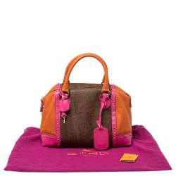 Etro Multicolor Coated Canvas And Leather Satchel