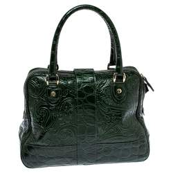 Etro Dark Green Paisley Embossed Leather Pushlock Flap Satchel