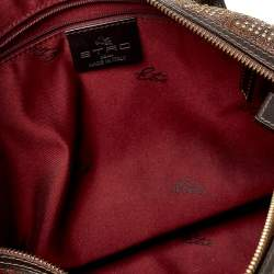 Etro Brown Paisley Printed Coated Canvas Studded Satchel