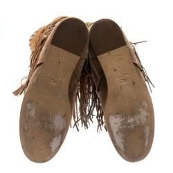 Etro Brown/Beige Suede Glastonbury Fringe Keen Length Boots Size 36.5