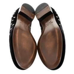 Etro Black Velvet Studded Smoking Slippers Size 40