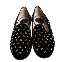 حذاء سليبر إيترو سموكينج ترصيع قطيفة أسود مقاس 40