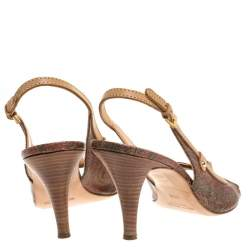 Etro Brown Paisley Print Coated Canvas and Leather Open Toe Slingback Sandals Size 39.5