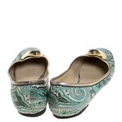 Etro Green Paisley Printed Coated Canvas Embellished Ballet Flats Size 40