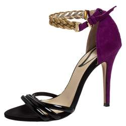 Etro Black/Purple Patent And Suede Chain Embellished Ankle Strap Sandals Size 36