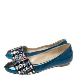 Etro Blue Patent And Multicolor Embossed Python Trim Ballet Flats Size 37