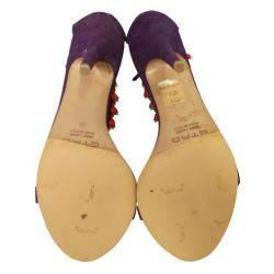 Etro Purple Suede Embellished Ankle Strap   Sandals