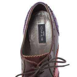 Etro Tricolor Leather Brogue Oxford Ankle Booties Size 36