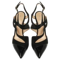Etro Black Suede Leather And Pony Hair Pointed Toe Ankle Strap Sandals Size 40