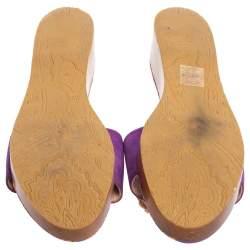 Etro Purple Suede Embellished Open Toe Slide Sandals Size 39