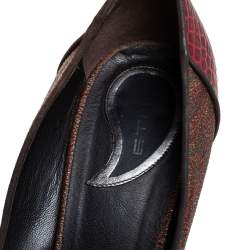 Etro Red/Brown Croc Embossed And Coated Canvas Bow Detail Pumps Size 40