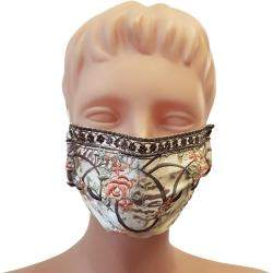 Non-Medical Handmade Floral Embroidered Printed Satin and Cotton Face Mask - Pack Of 5 (Available for UAE Customers Only)