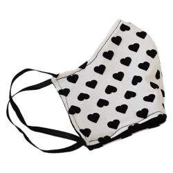 Non-Medical Handmade White Heart Printed Cotton Face Mask - Pack Of 5 (Available for UAE Customers Only)