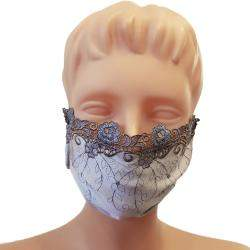 Non-Medical Handmade Blue Embroidered Lace and Cotton Face Mask - Pack Of 5 (Available for UAE Customers Only)