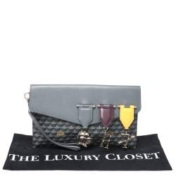 Faure Le Page Grey Leather and Canvas Envelope Triomphe Clutch