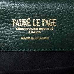 Faure Le Page Green Coated Canvas and Leather Parade Top Handle Bag