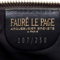 Faure Le Page Beige/Brown Coated Canvas and Leather Wristlet Clutch