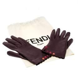 Fendi Burgundy Leather Studded Gloves Size M