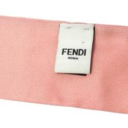 Fendi Mulitcolor Printed Silk Twilly Twill Orchidea Bandeau Bubble Gum Scarf