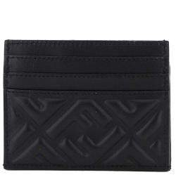 Fendi Black Leather Baguette FF Card Holder