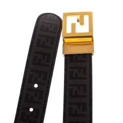 Fendi Tobacco Zucca Coated Canvas FF Buckle Belt 105 CM