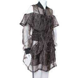 Fendi Black & Brown Organza Zucca Monogram Sheer Cold Shoulder Jacket M
