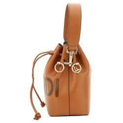 Fendi Brown Leather Mon Tresor Logo Bucket Bag