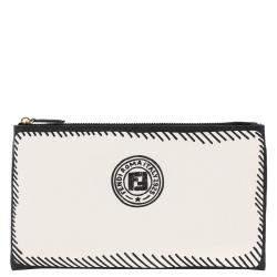 Fendi White Stamp Fabric Medium Pouch