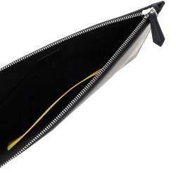 Fendi Black/Yellow Leather Roma Clutch