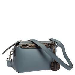حقيبة بوسطون فندي باي ذا واي صغيرة جلد بني و أزرق