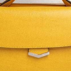 حقيبة فندي ديمي جور جلد مزخرف أصفر يد علوية صغيرة