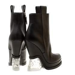 Fendi Black Leather Ice Heel Wedge Ankle Boots Size 36