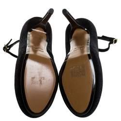 Fendi Black Glitter Suede Platform Ankle Strap Pumps Size 38