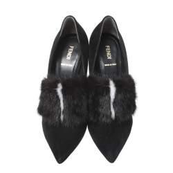 Fendi Black Suede And Mink Fur Alexane Block Heel Pumps Size 39