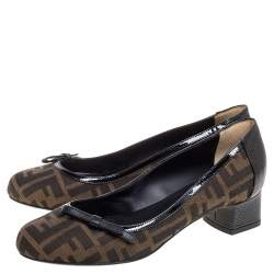 Fendi Brown Tobacco Zucca Canvas And Lizard Embossed Leather Bow Block Heel Pumps Size 37