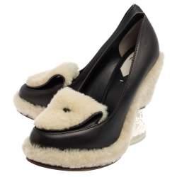 Fendi Black Leather Shearling Wedge  Pumps Size 40