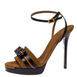 Fendi Brown/Black Suede and Leather Bow Ankle Strap Platform Sandals Size 41