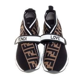 Fendi Black/Brown Knit Fabric Rockoko FF Motif Inlay Sneakers Size 36