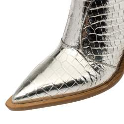 Fendi Silver Croc Embossed Leather Cutwalk Cowboy Boots Size 38