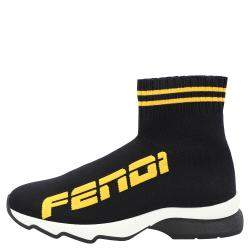 Fendi Black Cotton Knit And Leather Logo Sock Sneakers Size EU 36