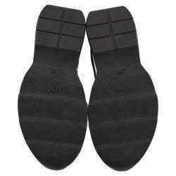 Fendi Black Cotton Knit And Leather Logo Sock Sneakers Size EU 37