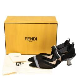 Fendi Multicolor Mesh, Elastic And Canvas Colibri Slingback Pointed Toe Sandals Size 37