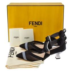 Fendi Multicolor Mesh And Fabric Colibri Slingback Pointed Toe Sandals Size 36